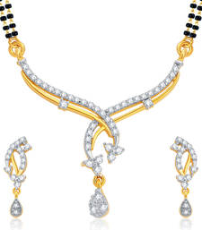 Buy Gleaming Gold and Rhodium Plated CZ Mangalsutra Set For Women mangalsutra online