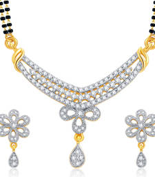 Buy Enchanting Gold and Rhodium Plated CZ Mangalsutra Set For Women mangalsutra online