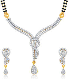 Buy Ravishing Gold and Rhodium Plated CZ Mangalsutra Set For Women mangalsutra online