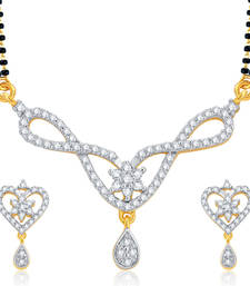 Buy Alluring Gold and Rhodium Plated CZ Mangalsutra Set For Women mangalsutra online