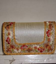 Buy Raw silk resham work clutch clutch online