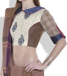 Buy maroon jaquard silk blouse crop-top online
