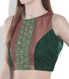 Buy green velvet blouse crop-top online