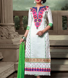 Buy White Chanderi Cotton embroidered unstitched salwar with dupatta dress-material online