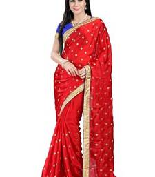 Buy Red printed satin saree with blouse satin-saree online