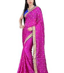 Buy Magenta printed satin saree with blouse satin-saree online