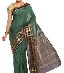Buy Green Plain Tussar Silk saree with blouse tussar-silk-saree online
