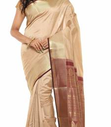Buy beige Plain Tussar Silk saree with blouse tussar-silk-saree online