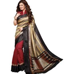 Buy Multicolor plain art silk saree with blouse bhagalpuri-silk-saree online