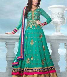 Buy Green chanderi embroidered semi_stitched salwar with dupatta anarkali-salwar-kameez online