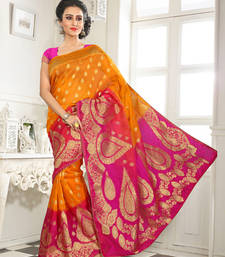 Buy Yellow and pink embroidered silk saree wtih blouse banarasi-silk-saree online