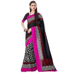 Buy Black printed art_silk saree with blouse bhagalpuri-silk-saree online
