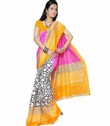 Buy Yellow printed art_silk saree with blouse bhagalpuri-silk-saree online