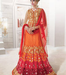 Buy orange embroidered net lehenga choli lehenga-choli online
