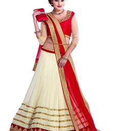 Buy Cream and red  georgette embridered unstitched lehenga-choli lehenga-below-1000 online