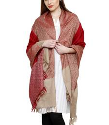 Buy Red  and  beige pure wool jamawar shawl with tassels shawl online