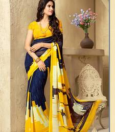 Buy Yellow and  Blue georgette georgette saree with blouse printed-saree online