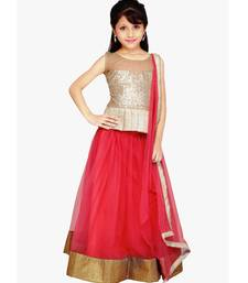 Buy Pink Net plain kids lehenga-choli kids-lehenga-choli online