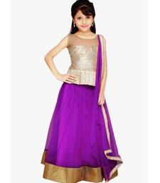 Buy Purple Net plain kids lehenga-choli kids-lehenga-choli online