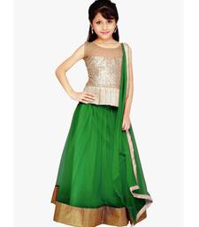 Buy Green Net plain kids lehenga-choli kids-saree online