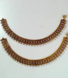 Buy Polki & Zircon Traditional Anklet  anklet online