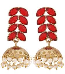 Buy Trendy Red Stone Crystals Reception Jhumki Earrings jhumka online