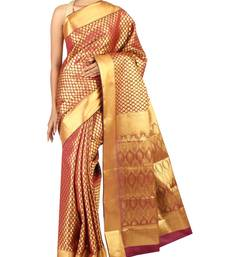 Buy Brown woven Silk saree with blouse silk-saree online