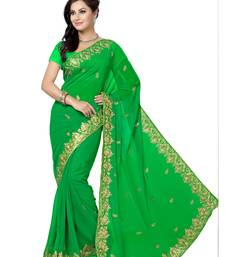 Buy Green embroidered chiffon saree with blouse party-wear-saree online