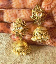 Buy Designer Royal Antique Gold Plated Kundan Jhumka Earrings jhumka online