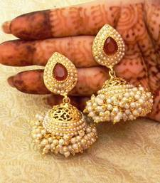 Buy Marvelous Maroon Gold Plated Bandani Jhumka Earrings eid-jewellery online