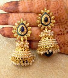 Buy Stunning Blue Gold Plated Bandani Jhumka Earrings jhumka online