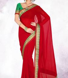 Buy Party Wear Red Faux Chiffon Saree with Blouse chiffon-saree online