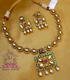 Buy Royal Antique Finish Kundan Necklace necklace-set online