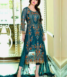 Buy Blue georgette embroidered semi  stitched salawr with dupatta party-wear-salwar-kameez online