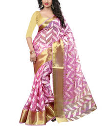 Buy pink plain Jacquard saree with blouse tissue-saree online