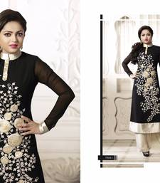 Buy Black embroidered georgate semi-stitched   sawar with dupatta party-wear-salwar-kameez online