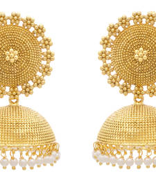 Buy JFL - Traditional Ethnic Antique One Gram Gold Plated Designer Jhumka jhumka online