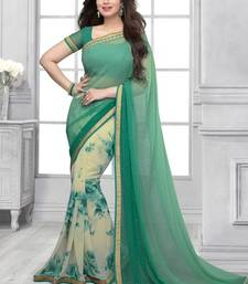 Buy Green Printed Weightless Georgette saree with blouse half-saree online