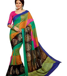 Buy multicolor printed art silk saree with blouse printed-saree online