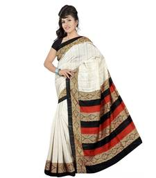 Buy WHITE printed art silk saree with blouse printed-saree online