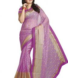 Buy Purple printed cotton saree with blouse cotton-saree online