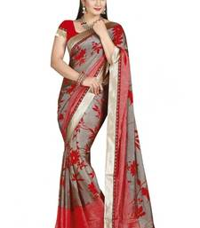 Buy Red and Grey printed cotton saree with blouse cotton-saree online