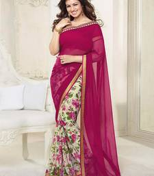 Buy Maroon Printed Weightless Georgette saree with blouse half-saree online