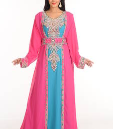 Buy Rani and  firozi  arabian islamic kaftan crystal-abaya online
