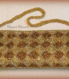 Buy Golden Fully Studded beads work Clutch Purse Bag online