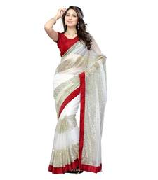 Buy White embroidered net-saree with blouses saree with blouse net-saree online
