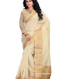 Buy golden hand woven cotton saree with blouse cotton-saree online