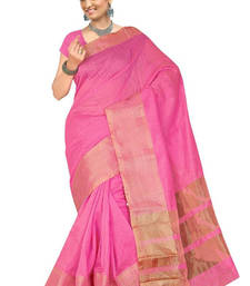 Buy Pink hand woven cotton saree with blouse cotton-saree online