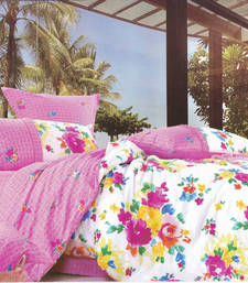 Buy Printed Luxury Flat Bedsheet - Pink Floral on a White Base, by Just Linen bed-sheet online