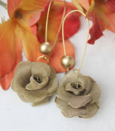Buy Olive Metal Rose Earring danglers-drop online